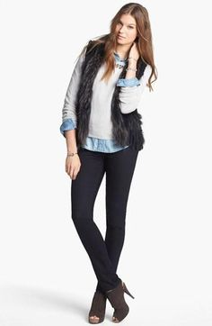 Linda Richards Vest, Halogen® Shirt, Hinge® Sweater & Hudson Jeans Skinny Jeans available at Fur Vest Outfits, Cute Outfits, Hudson Jeans, Fall Winter Outfits, Autumn Winter Fashion, Fashion Outfits, Womens Fashion, What To Wear, Shirts