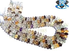 Mix Stone Disco Faceted Roundel (Quality AA) Shape: Roundel Faceted Length: 36 cm Weight Approx: 37 to 41 Grms. Size Approx: 8.50 to 9.50 mm Price $62.00 Each Strand