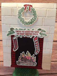 Christmas Card using Stampin' Up!'s Festive Fireplace Stamp Set and Festive Fireside Framelits.  Video and instructions on the blog: www.stampwithjennifer.blogspot.com