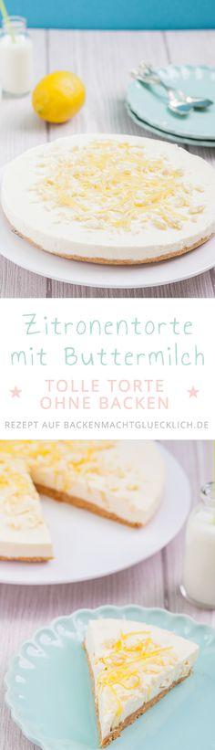 Buttermilch-Zitronen-Torte ohne Backen: Sommerlicher Kühlschrankkuchen, der ganz fixzubereitet ist. Die Kombi aus knusprigem Keksboden, erfrischender Buttermilch-Zitronen-Creme und weißer Schokolade ist traumhaft!