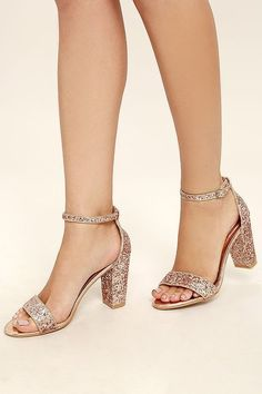 Enchant them with your dance moves and the Adira Champagne Glitter Ankle  Strap Heels! Chunky glitter embellishes the toe strap and adjustable ankle  strap ...