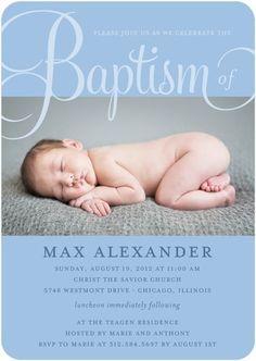 Baptism, Christening Invitations Fashionable Fonts - Front : Blue