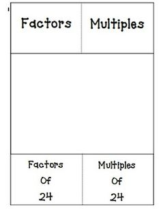 Here's a foldable template on factors and multiples.
