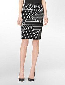 abstract print pencil skirt $59.50