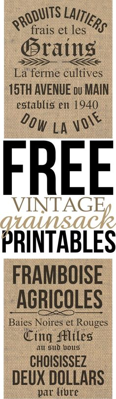 Free Vintage Grain sack Printables, perfect for your farmhouse inspired home on a budget. these were inspired by Johanna Gains from the  HGTV show Fixer Upper. They will take you just minuets to download for your home decor and could be used in virtually any room in your home! Enjoy