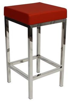 """Albany"" Stainless Steel Frame Backless Padded Bar Stool in Red - AU$119 – Simply Bar Stools - https://www.simplybarstools.com.au/products/albany-stainless-steel-frame-backless-padded-bar-stool-in-red - steel, backless, fixed leg, bar stools. #Australia #Furniture"