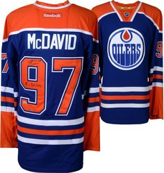 7e8e163e811 Connor McDavid Edmonton Oilers Autographed Blue Reebok Jersey with Pick 2015  Inscription - Limited Edition of 97 - Upper Deck