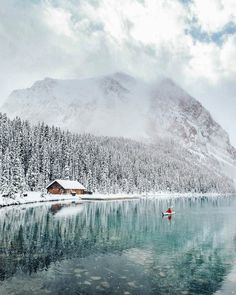 ***Kayaking at wintery lake louise (banff, alberta) by stevin tuchiwsky ( Beautiful Places To Visit, Places To See, Tumblr Photography, Travel Photography, Banff National Park, National Parks, Vancouver, Lake Louise Banff, Nature Photos