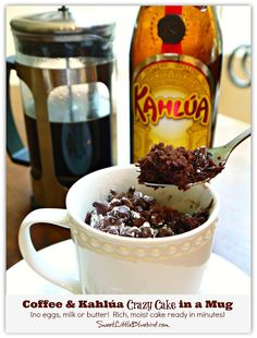 Coffee & Kahlúa Crazy Cake in a Mug!!! (no eggs, milk or butter) Moist, delicious cake ready in minutes! Way too easy and oh so good!   SweetLittleBluebird.com