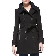 Burberry Brit Daylesmoore Wool-Blend Zip-Pocket Trench Coat (1,670 CAD) ❤ liked on Polyvore featuring outerwear, coats, black, long sleeve coat, wool blend double breasted coat, black trench coat, tie belt and black tie belt