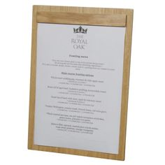 Wooden A4 Menu Board with wood and Plastic Fixing H-TB501