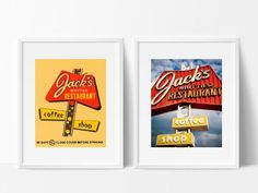 Jack's Restaurant Print Set Neon Sign Art Los Angeles 8x10 inches Neon Sign Art, Neon Signs, Jacks Restaurant, Cofee Shop, Diner Decor, Retro Home Decor, Ikea Kitchen, Menu, Photograph
