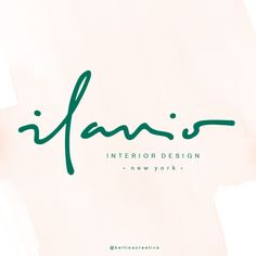 """Always an exciting moment to share with you a new brand identity. I create a modern and elegant logo for new interior design firm in N E W Y O R K ! I am SO trilled about the project that I'm currently working on for a lovely client of """"Ilanio"""". Loving all things sophisticate and hand lettering right now! #bellinacreativa #logo #logodesign #handlettering #branding #branddesign #branddesigner"""