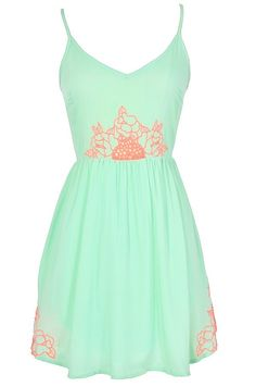 cute embroidered summer dress, mint embroidered dress, mint green and coral dress, Neon Lights Embroidered Dress Dress Outfits, Casual Dresses, Cute Outfits, Summer Dresses, Maxi Dresses, Stylish Outfits, Belted Dress, Dress Skirt, Lace Dress
