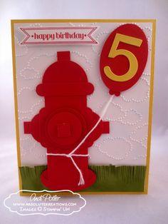 Punch Art Fire Hydrant Birthday Boy Card