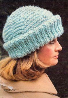 Glacier Hat Vintage Knitting Pattern chunky hat PDF by Yesteryarn, $2.99