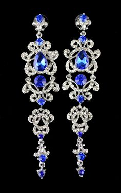 Idealway Blue Crystal Bridal Long Earrings for Women Wedding Jewelry for Bridesmaid CZ Dangle Earring Bridal Party Gift Brincos #Affiliate