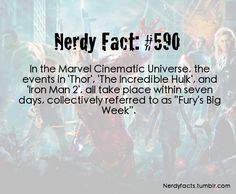"In the Marvel Cinematic Universe, the events in 'Thor', 'The Incredible Hulk', and 'Iron Man all take place within seven days, collectively referred to as ""Fury's Big Week"". Pinning this because ""Fury's Big Week"" is playing on tv today Marvel Dc Comics, Marvel Heroes, Marvel Avengers, Avengers Memes, Marvel Funny, Marvel News, Be My Hero, Mundo Comic, Incredible Hulk"