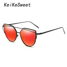 FuzWeb:KeiKeSweet Or Hot Women Alloy er SuperStars Sunglasses Rose Gold Cl Cat Eye Twin-Beams Lady