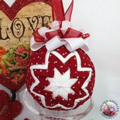 Valentine Quilted Ornament  - Christmas Tree Decoration. $25.00, via Etsy.
