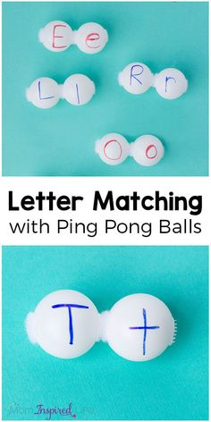 Alphabet matching with ping pong balls is a fun letter matching alphabet activity that makes learning letters hands-on and engaging!
