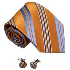 YAM1401.02 Fashion Stripes Silk Mens Neck Tie Cufflinks Set By Y&G