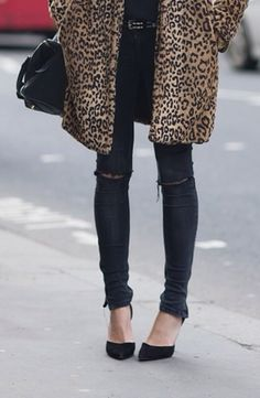 Cheetah coat, ripped jeans or black jeans or acid wash jeans