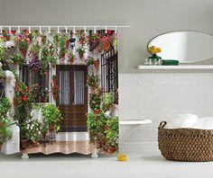 Artistic Designer Shower Curtain...Spanish Door with ivy vines..browns, greens, beige, reds