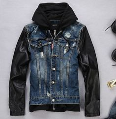 Free Shipping!2015 Spring And Autumn Fashion Brand Designer Jackets Leather Sleeves Jeans Jacket Mens Hooded Denim Coats M-XXL
