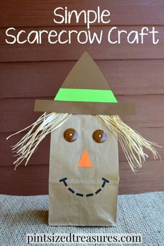 paper bag scarecrow craft Supplies needed: Card stock (black, green, orange, brown) Buttons Scissors Glue stick Brown paper bag Raffia Scrap paper