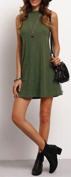 Blackish Green Mock Neck Sleeveless T-shirt Dress