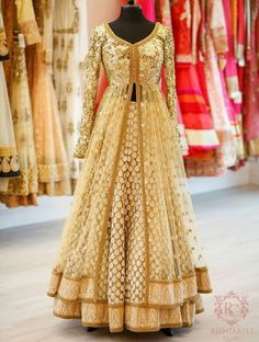 Just look at how stunning this brown gold beige anarkali lehenga looks. Perfect for the sister of the bride. Indian Wedding Outfits, Bridal Outfits, Indian Outfits, Bridal Dresses, Indian Reception Outfit, Wedding Gowns, Indian Gowns, Indian Attire, Pakistani Dresses