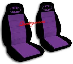 2 COOL CAR SEAT COVERS IN BLACK & PURPLE WITH PURPLE BATMAN HIGH QUALITY NICE!