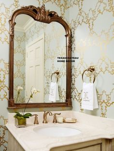 "Gold Framed Bathroom Mirrors bonaparte silver gilt wall mirror, 26"" wide x 38"" high x 2"" thick"