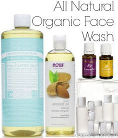 Natural face wash using essential oils. 8 oz of Dr. Bronners Castile Soap 8 oz of distilled water (or just purified water) 1 Tablespoon of Almond oil 20 drops of Lavender 10 drops of Lemon Mix it all up! Young Living Oils, Young Living Essential Oils, Organic Face Wash, Best Natural Face Wash, Organic Facial, Natural Skin, Essential Oil Uses, Essential Oils For Face, Homemade Beauty Products
