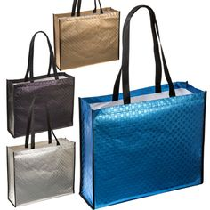 Metallic Euro Tote. Laminated non-woven 120 GSM fabric. Textured tote in…