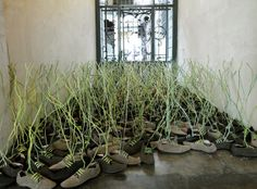 London designer Dominic Wilcox has created a field from 400 eco-friendly shoes. Sponsored by Terra Plana, the ethical shoe company, Wilcox has applied a touch of magic to the shoe laces as they rise up in unison and grow towards the window's light.