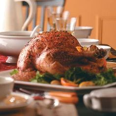 Garlic and Herb Roasted Turkey Recipe_    Our recipe specialists use an easy herb rub to turn out a tender, tasty turkey with beautiful golden skin. Lemon adds a pleasant flavor to the gravy. —Taste of Home Test Kitchen