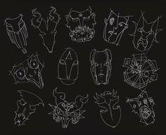 """Ilustración bajo bandeja  13 máscaras para disco """"El otro lado"""""""