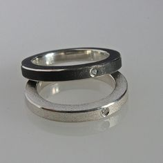 Stacking ring in black oxidized silver with door andreasschiffler