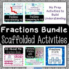 Fractions Bundle: Fractions can be difficult for many students, but this fraction product can help.  It includes 5 of my fraction products bundled together into a 105 page product!  ALL OF THE FILES IN THIS FRACTION PRODUCT ARE PDFs.  If you want even more fraction products,  then get over 35% off when you buy this as part of my Fractions: Mega Bundle!The following products are included in this fraction bundle: Fractions: Understanding 1/2In order to be successful with the fraction…