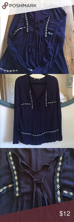 Long Sleeve Boot Barn Blouse Indigo blue long sleeve blouse from Boot Barn with pretty embroidered details. Bell sleeves. Size Large, trimmed out the itchy tag. Excellent condition. Boot Barn Tops Blouses