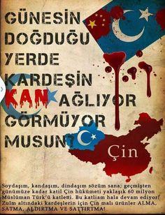 ADALETİN BU MU DÜNYA? Çin'de Uygur Türkleri var. Doğu Türkistan. Gök bayrak. Kendi öz yurtlarında çin zulmü altında inlemekteler. İsrail zulmünün bin katı. Hiçbir hakları yok. Acılar denizinde yüzüyorlar. İsa Yusuf Alptekinden sonra unutuldu iyice. Namaz Kılan,Oruç Tutan Erkekler  Keyfi Tutuklanıp İşkencelere Mağruz Kalıyorlar ! Ey Müslüman sesin neden cıkmaz.?  Bir kerede Türk olunda Doğu Türkistan'da Komünist Çin zulmü altında ki kardeşlerimize el uzatın. Turkish People, Arabic Calligraphy, Politics, Arabic Calligraphy Art