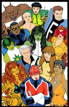 Marvel/DC amalgam: a Kevin Maguire creation in the style of his classic Justice League International covers. Marvel Dc, Marvel Comics, Marvel Comic Universe, Comics Universe, Comic Book Covers, Comic Books Art, Comic Art, Justice League, Marvel And Dc Crossover