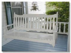 White Victorian Wooden Front Porch Swing