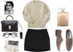 A fashion look from February 2013 featuring short mini skirts, shoulder handbags and clear eyeglasses. Work Fashion, Fashion Ideas, Cropped Sweater, Minimalist Fashion, Pretty Outfits, Black Pants, Work Wear, What To Wear, School Clothing