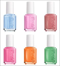 Essie Bikini So Teeny Collection for Summer 2012 (L-R, top to bottom: Bikini So Teeny, Cascade Cool, All Tied Up, Off the Shoulder, Fear or Desire, Mojito Madness)
