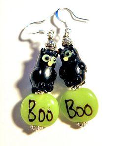 Halloween Earrings Handmade Lampwork BOO Owl LE127