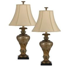 Cal Lighting Two Pack Resin Table Lamp in Antique Gold