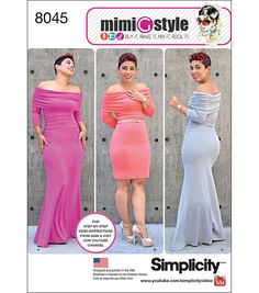 Simplicity Miss And Plus Size Knit Dress From Mimi G Style-20W-28W